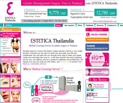 Estetica Thailandia - Free medical concierge service for sex reassignment and plastic surgery in Thailand