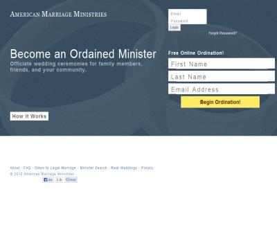 Online Ordinations to Perform Marriage - American Marriage Ministries