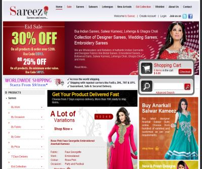 Collection of online sarees, salwar kameez, Lehenga choli from sareez.com