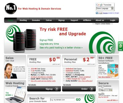 FREE WebHosting No Ads and cheap domain names