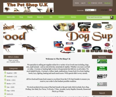 The Pet Shop U.K. - Reptiles to Cats, live-food to dog leads.