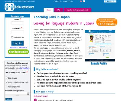 Part-time teaching jobs all across Japan