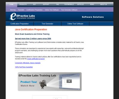 Java Certification Preparation and Training | SEO | Email Marketing | Online Test | Exam Generator | EPractize Labs Software