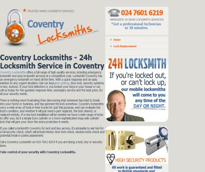Coventry Locksmiths - 24h Locksmith Service in Coventry