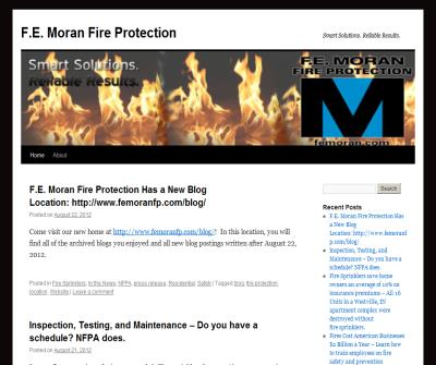 F.E. Moran Fire Protection WordPress Blog