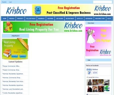 Krishoo | Property | Yello Page | Marriage | Shopping | Job Seeker | Recruitment | Bookmark | Web Directory | News