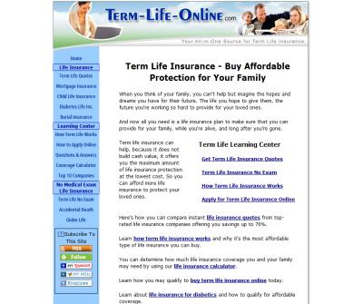 Term Life Online Insurance Quotes and Coverage