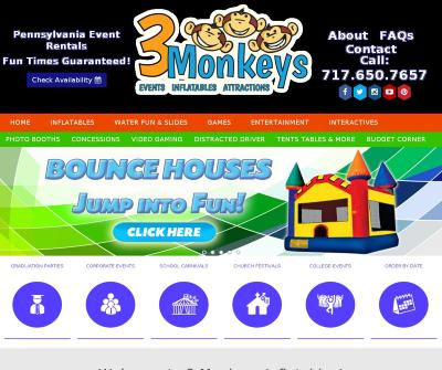 3 Monkeys Inflatable & Entertainment York, PA Rental Kid Bounce Houses, Dunk Tanks, Food Concessions