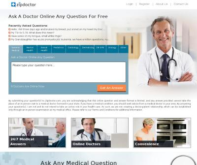 ZipDoctor.com Free Expert Online Answers on Medical Questions.