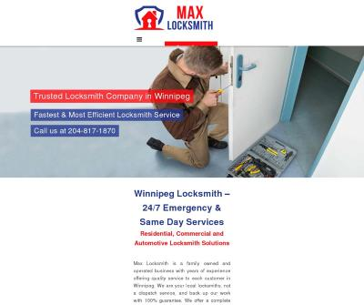Max Locksmith Winnipeg 24/7 Emergency & Same Day Services Residential, Commercial and Automotive