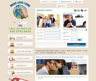 Man and Van Removals and Storage Service London UK