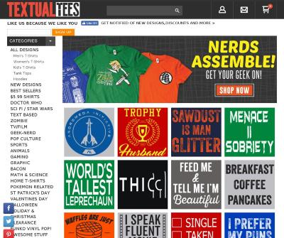 Textual Tees Cheap Funny T-shirts, Novelty T-shirts, Graphic Tees Design & Patterns.