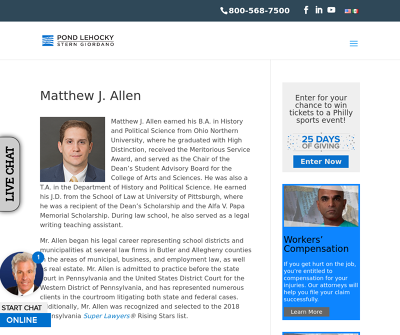Matthew J. Allen Philadelphia,PA Worker's Compensation Social Security Disability