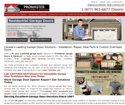Promaster Garage Doors Residential And Commercial Garage Doors in British Columbia.