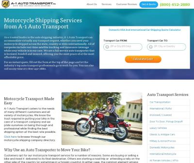 A-1 Auto Transport, Inc. Motorcycle Shipping Services