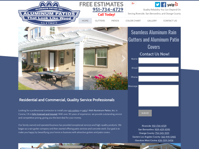 AAA Aluminum Patios Inc. Riverside, CA Gutters Insulated Patios Flat Pan Patio Lattice Patio