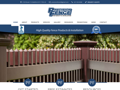 Precision Fence Company Medford, NY Manufacturing Designing Planning Installations