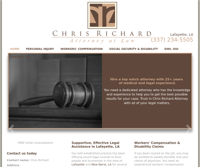 Chris Richard Attorney at Law Lafayette,LA Personal Injury Worker's Compensation