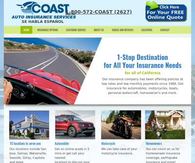 Coast Auto Insurance Sunnyvale,CA Automobile Insurance Recreational Vehicle Insurance