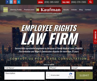The Kaufman Law Firm Los Angeles,CA Discrimination Elder Abuse Employment Class Actions