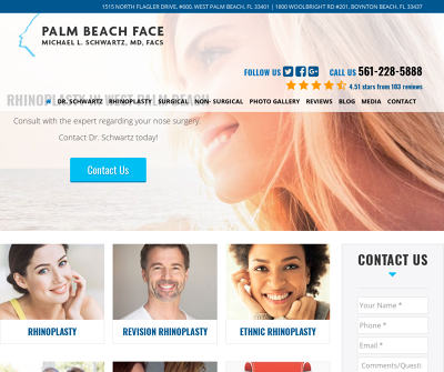 Palm Beach Face Michael L Schwartz MD Palm Beach,FL Rhinoplasty Revision Rhinoplasty
