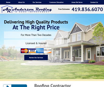 Anderson Roofing & Home Improvement Toledo Ohio Owens Corning Preferred Roof Contractor