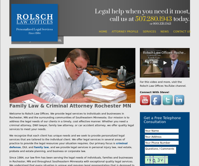 Rolsch Law Offices Rochester,MN Personal Injury Criminal Defense DUI Family Law Real Estate