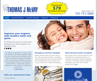 Thomas J. McVay, D.D.S. Alexandria,VA Cleanings Preventative Dentistry Oral Surgery