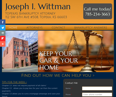 Joe Wittman Topeka, KS Bankruptcy Lawyer  Chapter 7, 13 Attorney