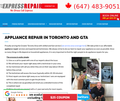 Express Appliance Repair Affordable Appliance Services Ontario Toronto Canada