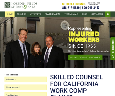 Koszdin, Fields, Sherry & Katz Worker's Compensation Workplace Injuries Illness Social Security Disability