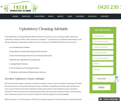 Upholstery Cleaning Adelaide Australia special Stain & Spot Removal Couch Cleaning