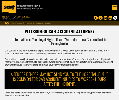 SMA Law Group Pittsburgh,PA Personal Injury Catastrophic Injury Criminal Law