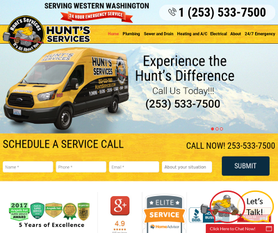Hunt''s Services Tacoma,WA  Plumbing, Heating  Electric Sewer A/C Drain