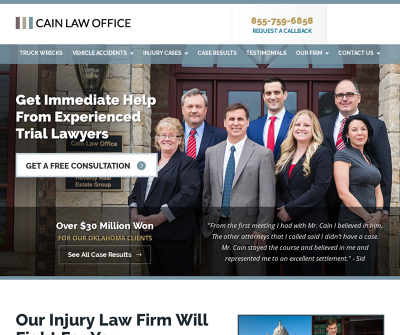 Cain Law Office Oklahoma City,OK Truck Wrecks Car Accidents Pedestrian Accidents
