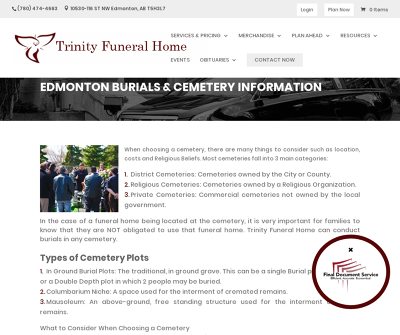 Edmonton Burials & Cemetery Information | Trinity Funeral Home
