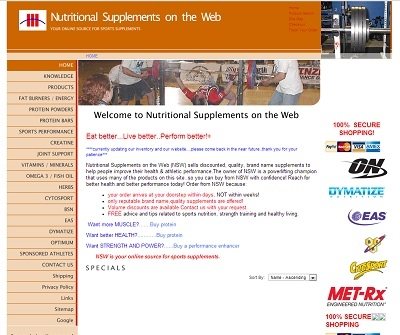 Nutritional Supplements on the Web