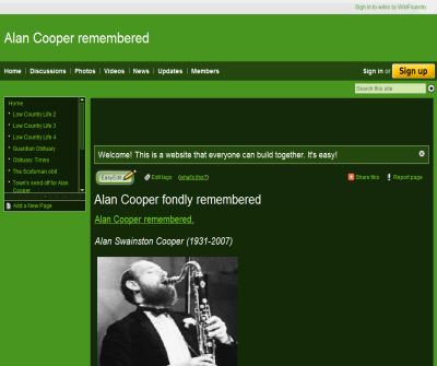Alan Cooper Remembered - UK Jazz Clarinettist