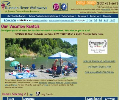 Russian River Getaways, pet friendly vacation rentals in Sonoma County California