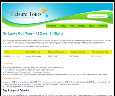 Golf Tour- Leisure Tours, Sri Lanka