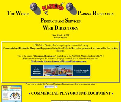 Playground equipment directory from The World Playground Directory, Park equipment and swing sets