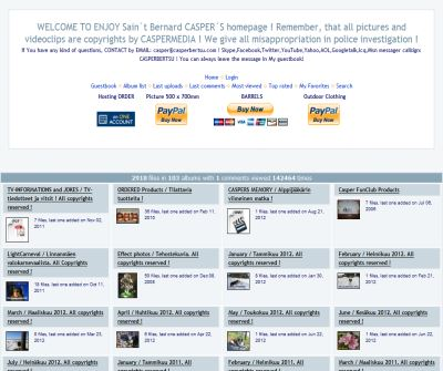 WELCOME TO ENJOY Sain`t Bernard CASPER´S homepage ! Remember, that all pictures and videoclips are copyrights by CASPERMEDIA ! We give all misappropriation in police investigation ! - Home