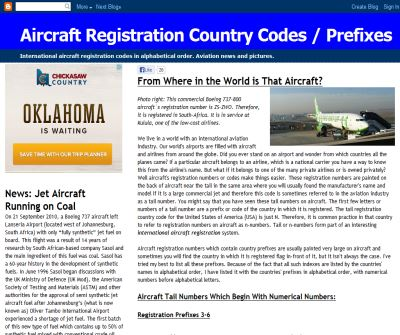 Aircraft Information: Aircraft Registration / Tail Numbers