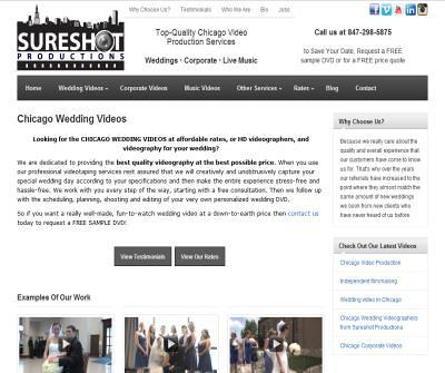 Chicago Wedding Video Sureshot Productions Professional Wedding Videography HD & SD on Blu Ray Disc and DVD. Call 847-298-5875