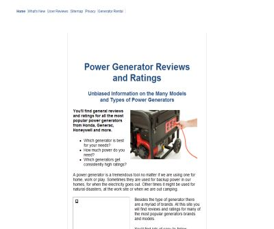 Home and Portable Generator Information, Ratings and Brands