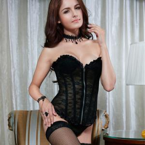 Retro Lace Zipper Corset By Eve's Night