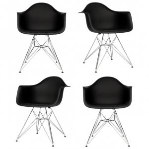 Plastic Dining Armchair with Steel Eiffel Legs