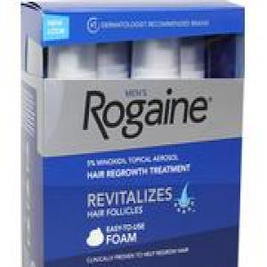 3 Month Supply Rogaine (Regaine) Foam for Men 5% Minoxidil (3 60g Cans, by Pfizer) at £39.95
