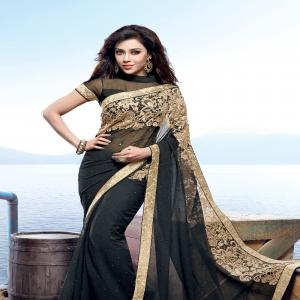 Joyful Black Designer Party Saree
